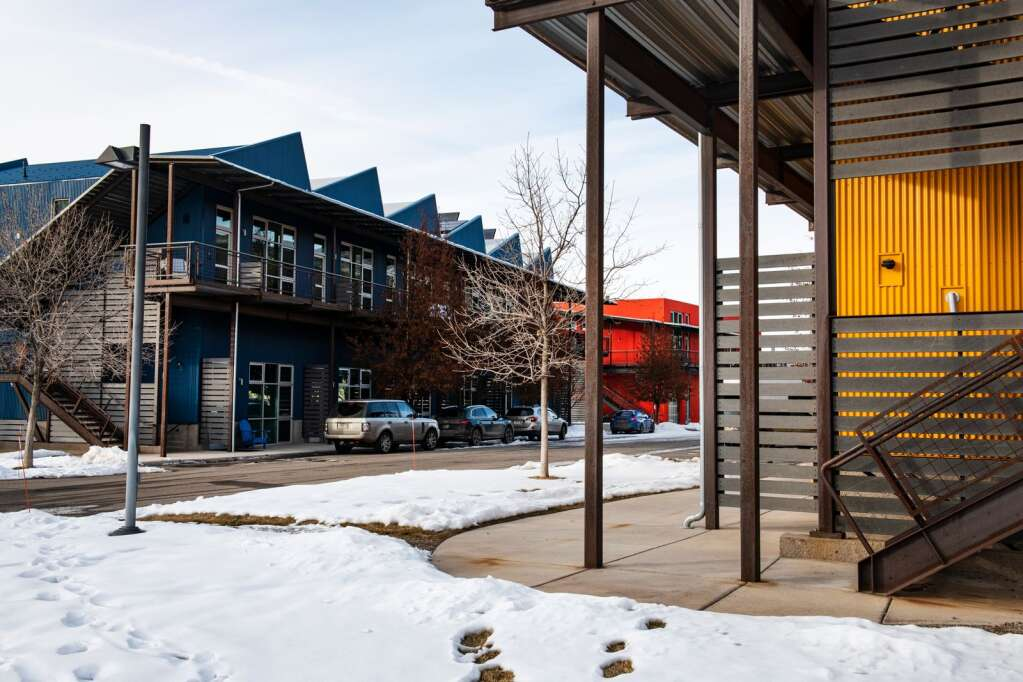 The mixed-use structures at the Willits Bend project on Friday, Jan. 8, 2021. (Kelsey Brunner/The Aspen Times)