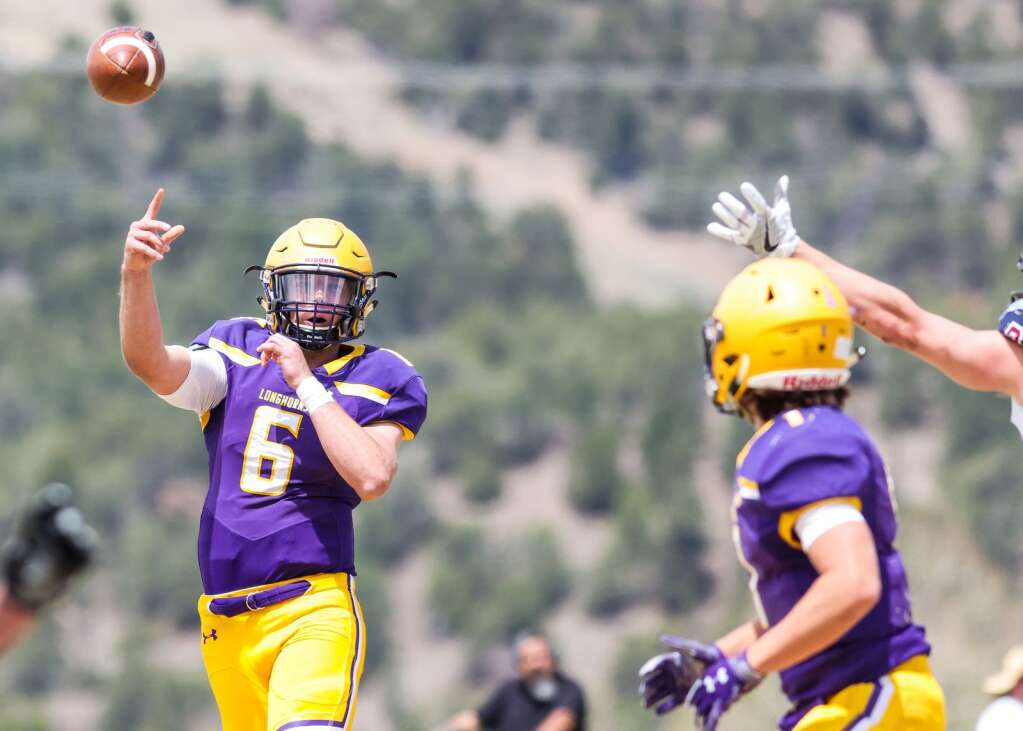 Basalt High School senior quarterback Matty Gillis throws against Sand Creek in the Class 3A state quarterfinals on Saturday, May 1, 2021, in Basalt. The Scorpions won, 27-22. Photo by Austin Colbert/The Aspen Times.
