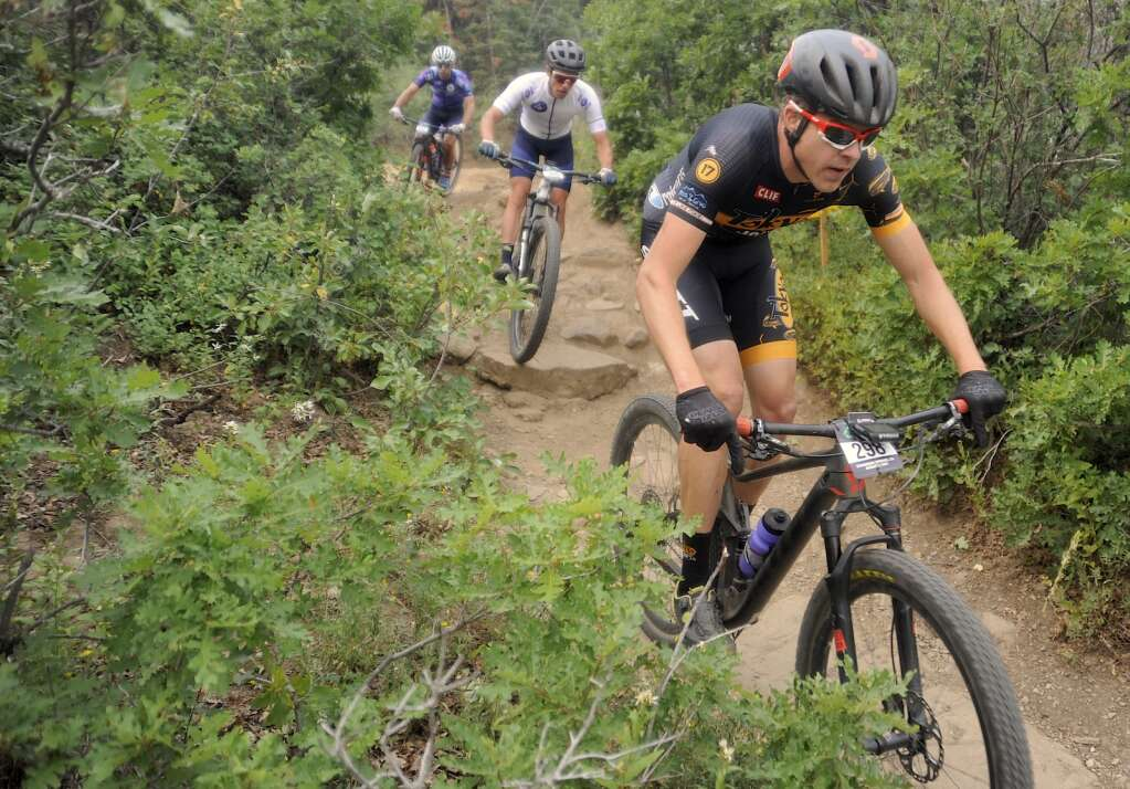 Cyclists tackle the Little Moab descent on the Emerald Mountain Epic course on Saturday morning. (Photo by Shelby Reardon)
