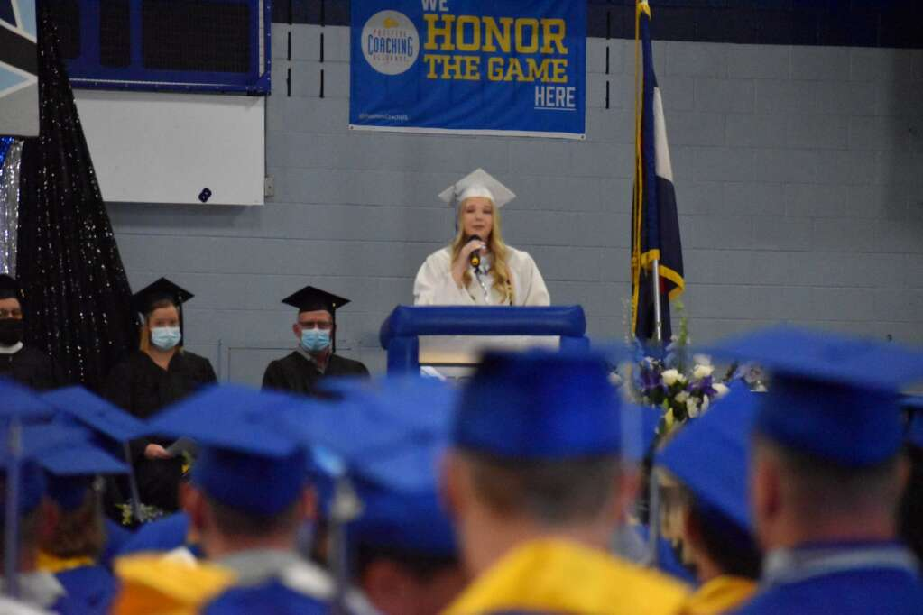 Millie Fritz addresses the Class of 2021, welcoming them to the commencement ceremony. (Joshua Carney / Craig Press)
