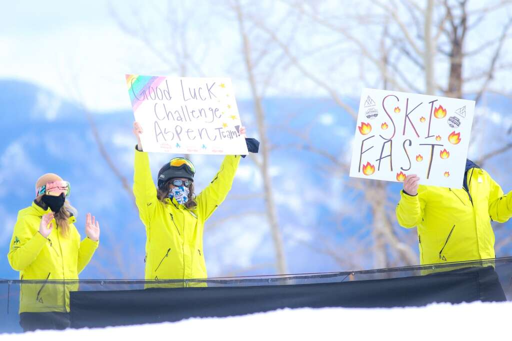 Challenge Aspen supporters cheer at the bottom of the course at the NASTAR national championships on April 7, 2021, at Snowmass Ski Area. | Austin Colbert/The Aspen Times
