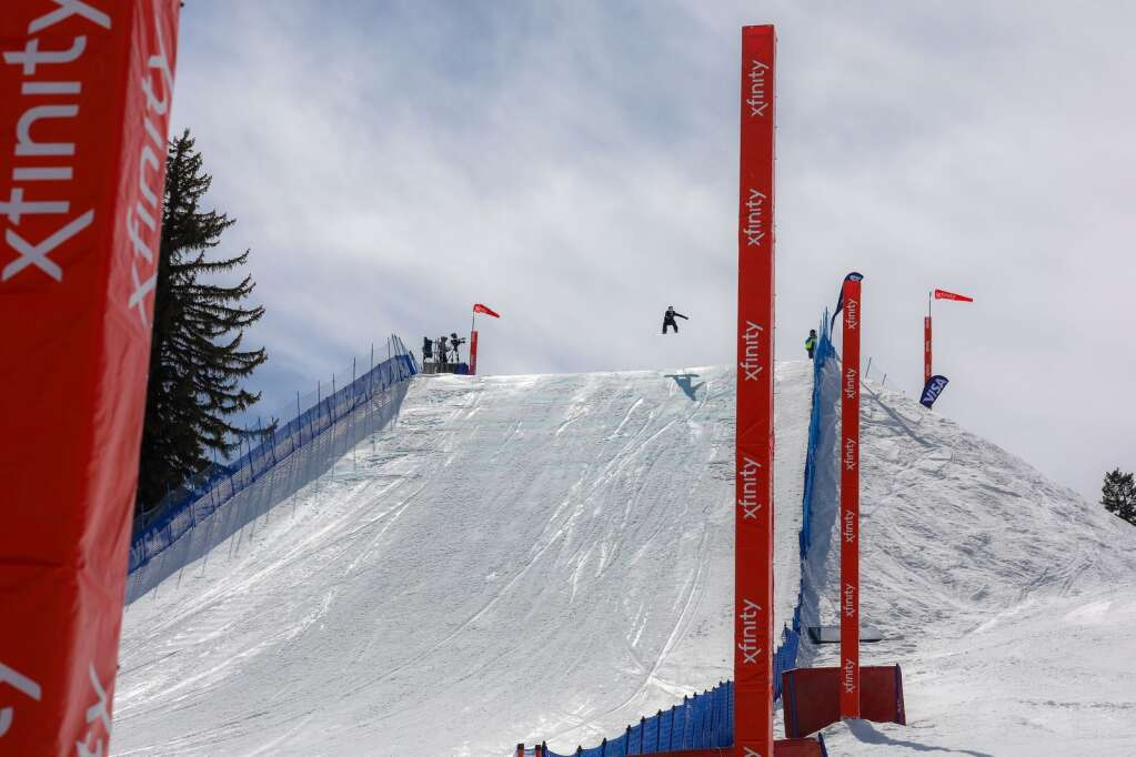 Austria's Anna Gasser competes in the women's snowboard slopestyle contest of the U.S. Grand Prix and World Cup on Saturday, March 20, 2021, at Buttermilk Ski Area in Aspen. Photo by Austin Colbert/The Aspen Times.