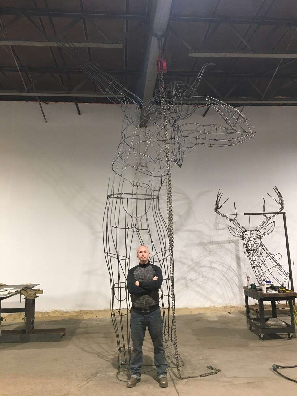 Sculptor Andy Scott stands in front of the wire frame for his sculpture of Ullr in his Philadelphia studio. The sculpture now stands at the base of Peak 8 in Breckenridge. | Photo from Breckenridge Grand Vacations