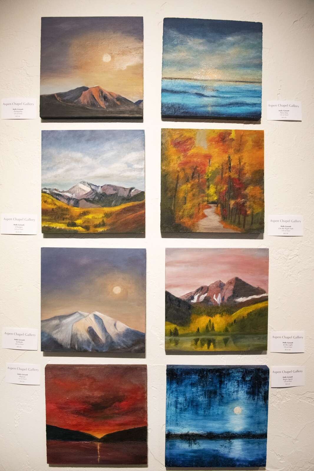 Paintings by Holly Gresset displayed in the Aspen Chapel Gallery for the Small Wonders holiday show and sale on Tuesday, Nov. 17, 2020. (Kelsey Brunner/The Aspen Times)
