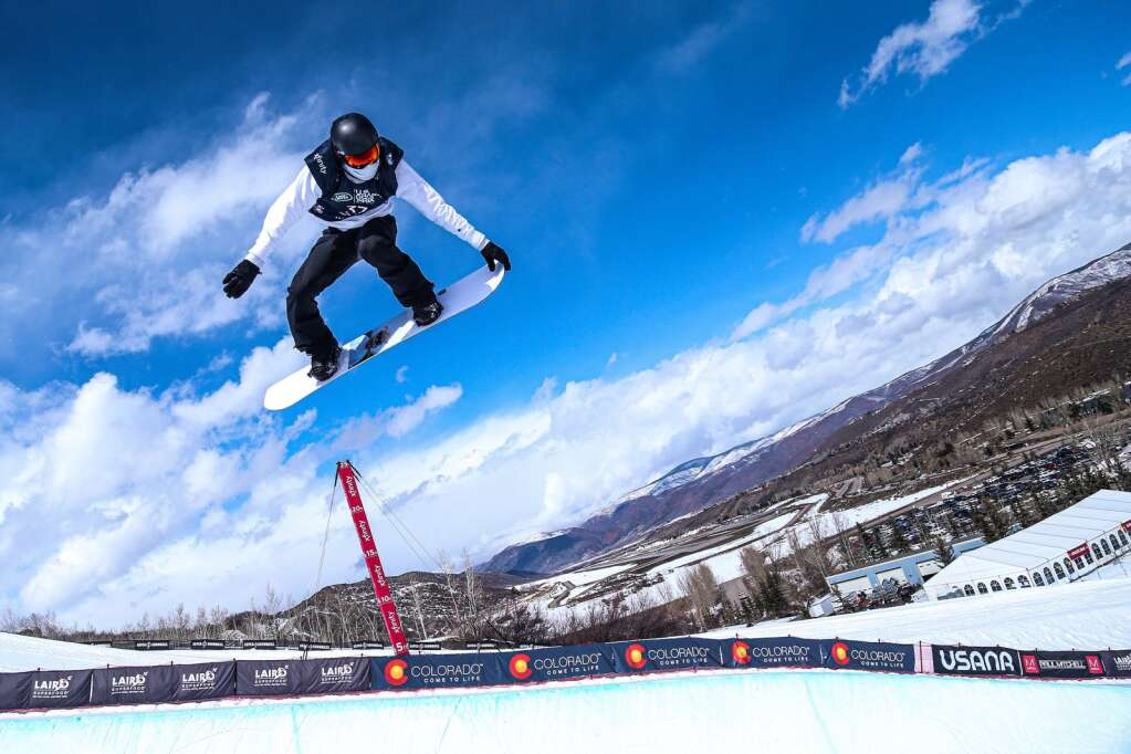 Shaun White competes in the men's snowboard halfpipe final of the U.S. Grand Prix and World Cup on Sunday, March 21, 2021, at Buttermilk Ski Area in Aspen, Colo. Photo by Austin Colbert/The Aspen Times.