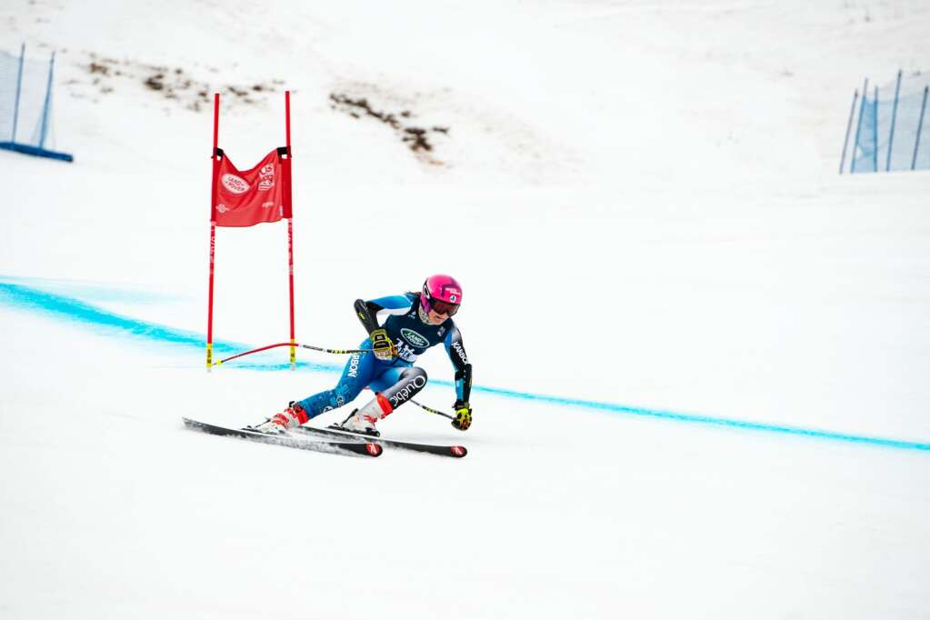 Canadian alpine skier Justine Lamontagne competes in the Women's Super G National Championships at Aspen Highlands on Tuesday, April 13, 2021. (Kelsey Brunner/The Aspen Times)