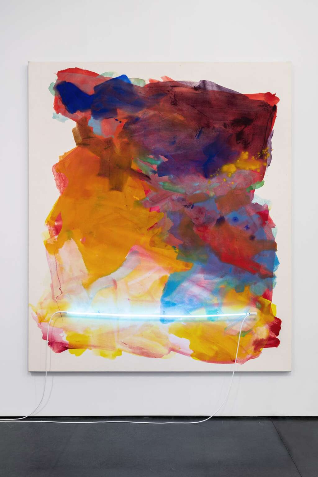 """Installation view of Mary Weatherford, """"Neon Paintings,"""" 2020. Credit: Carter Seddon"""