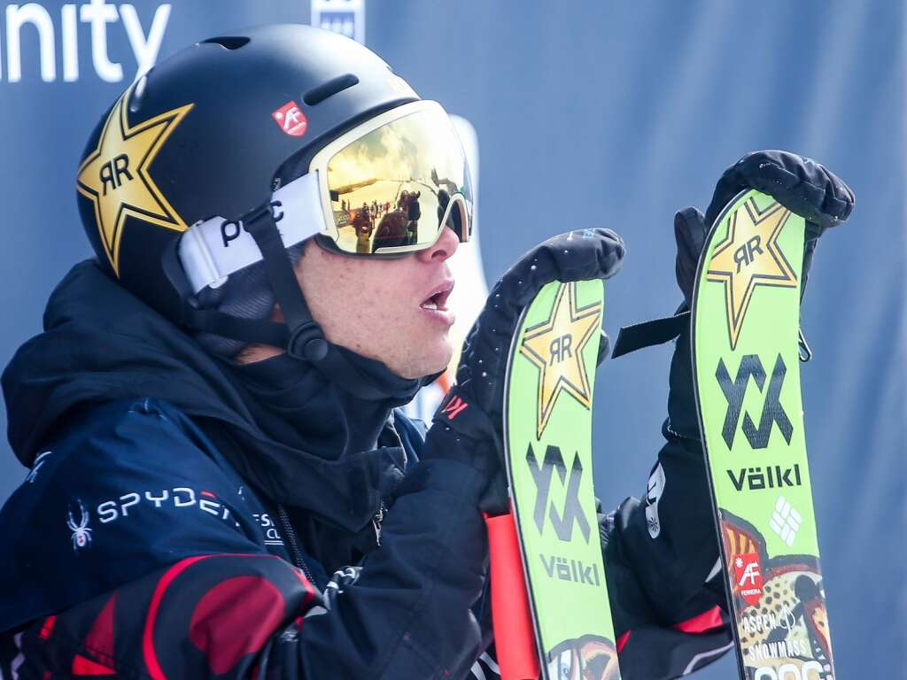 Aspen's Alex Ferreira awaits his score during the men's freeski halfpipe final at the U.S. Grand Prix and World Cup on Sunday, March 21, 2021, at Buttermilk Ski Area in Aspen. Photo by Austin Colbert/The Aspen Times.