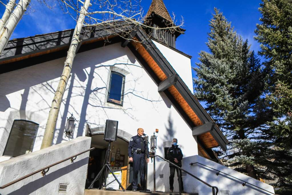 Vail Police Chief Dwight Henninger speaks to the crowd during the groundbreaking event at the Vail Interfaith Chapel on Monday in Vail. Henninger spoke because he says the iconic place of worship is far more than a church — it's also pillar of the community used for a multitude of purposes.