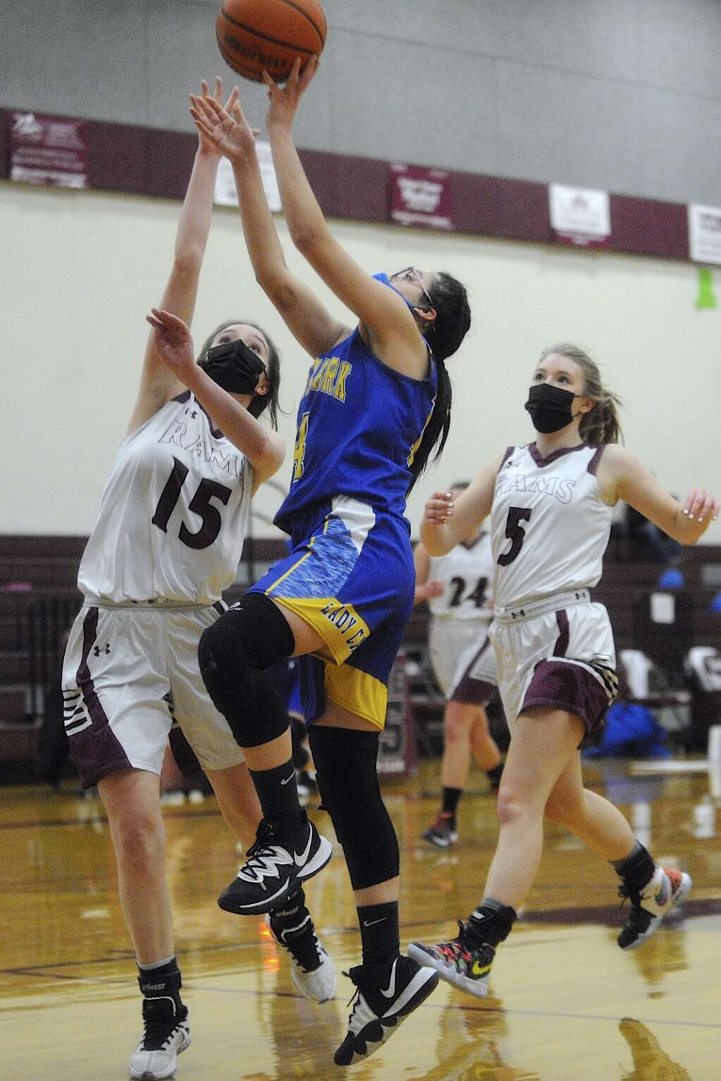 Soroco senior Makinley Parker defends a shot from North Park junior Danela Reyes during a game in Oak Creek on Saturday afternoon. (Photo by Shelby Reardon)