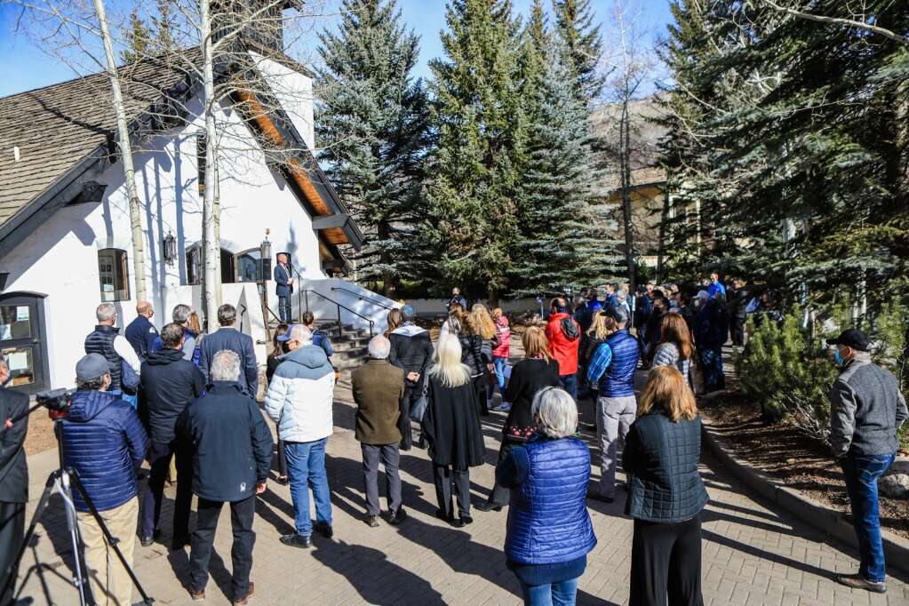People attend the groundbreaking and listen to speakers tell all the benefits the Vail Chapel as in the community.