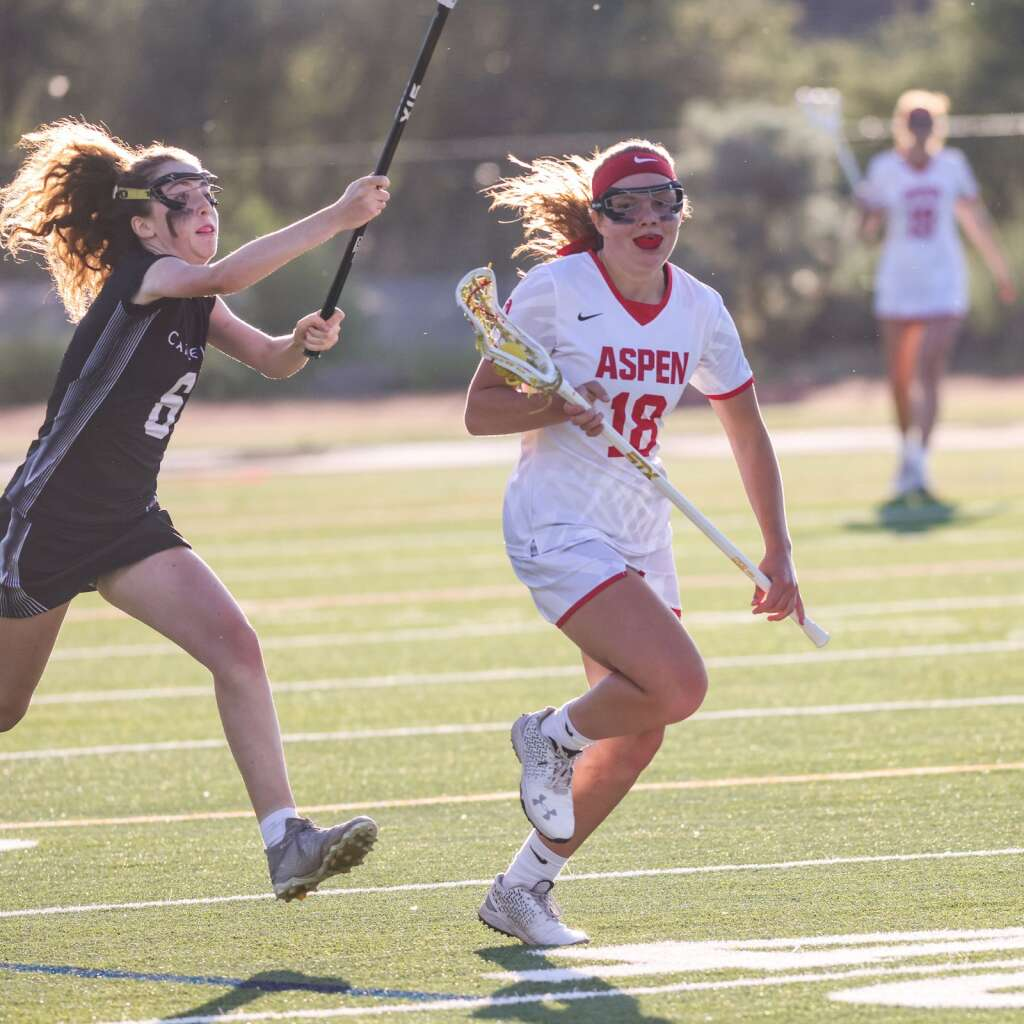 Aspen High School's Stella Sherlock brings the ball upfield in the girls lacrosse game against Castle View in the Class 4A state quarterfinals on Saturday, June 19, 2021, on the AHS turf. The Sabercats won, 10-9. Photo by Austin Colbert/The Aspen Times.