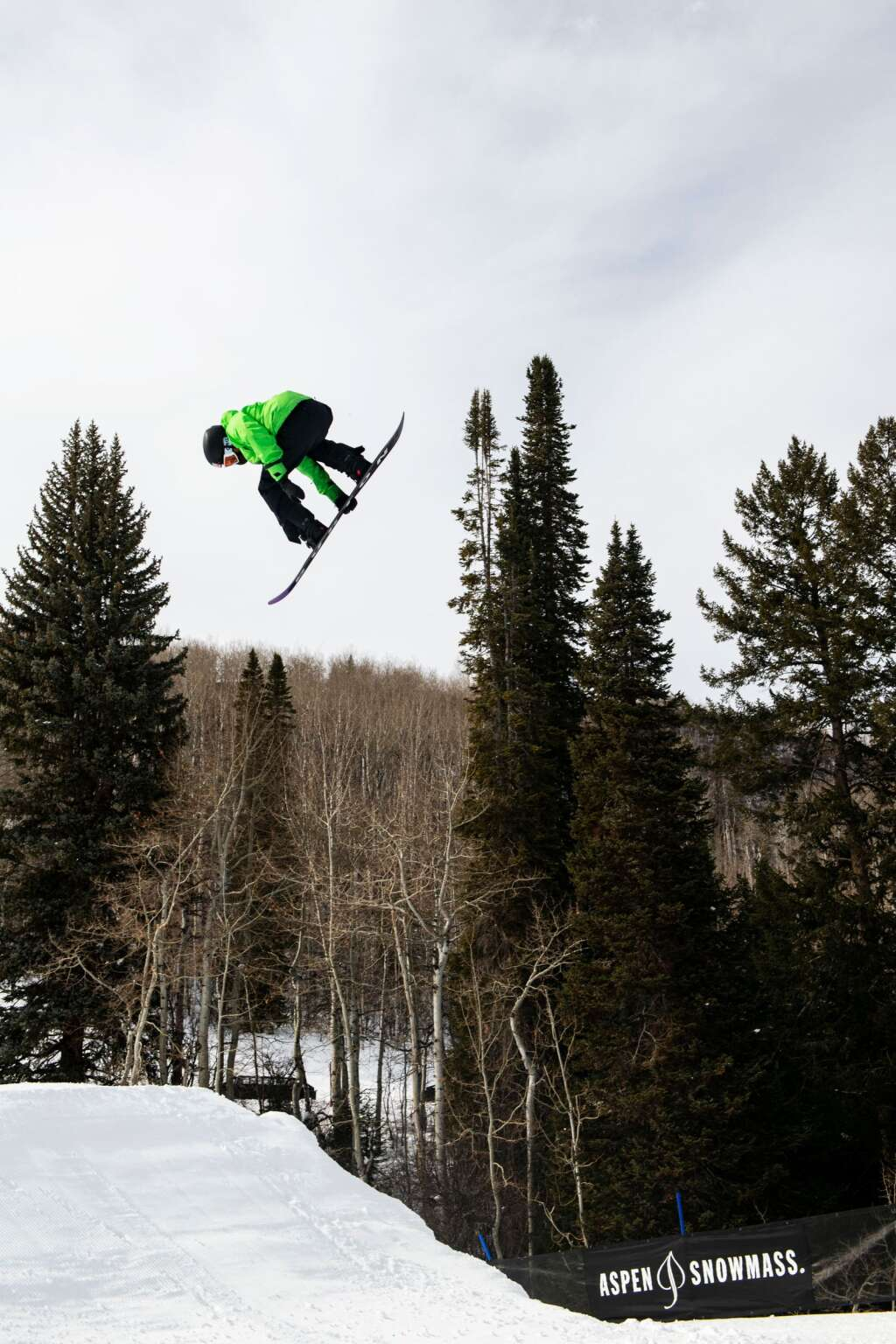American snowboarder Red Gerard gets air off of the second jump on the slopestyle course at X Games 2021 at Buttermilk on Thursday, Jan. 28, 2021. (Kelsey Brunner/The Aspen Times)