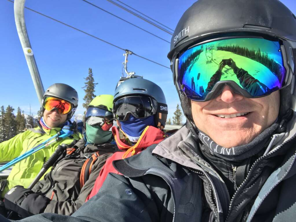 From left to right, Tom Fralich, Mary Fralich, Phil Pian and Brad Blacketor ride a chairlift together during this past winter. | Photo from Brad Blacketor