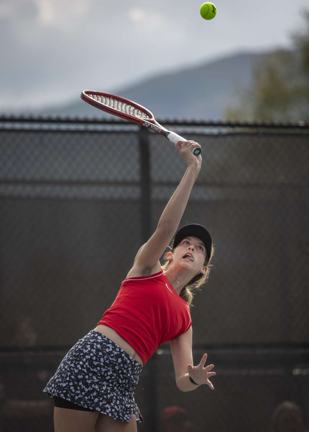 Park City High School junior Aly Inglish serves the ball during her second doubles matchup against Murray High School at the PC MARC Thursday afternoon, Sept. 23, 2021. (Tanzi Propst/Park Record)
