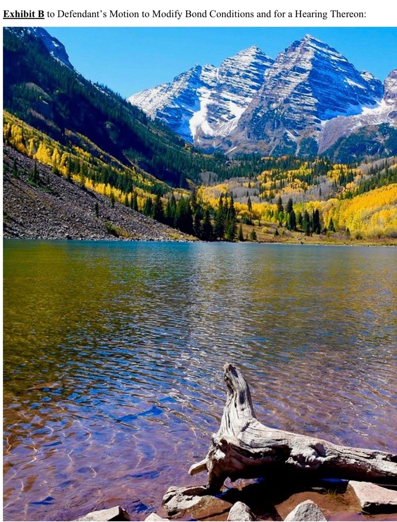 Exhibit B in David Lesh's federal court case is a stock photo of Maroon Lake.