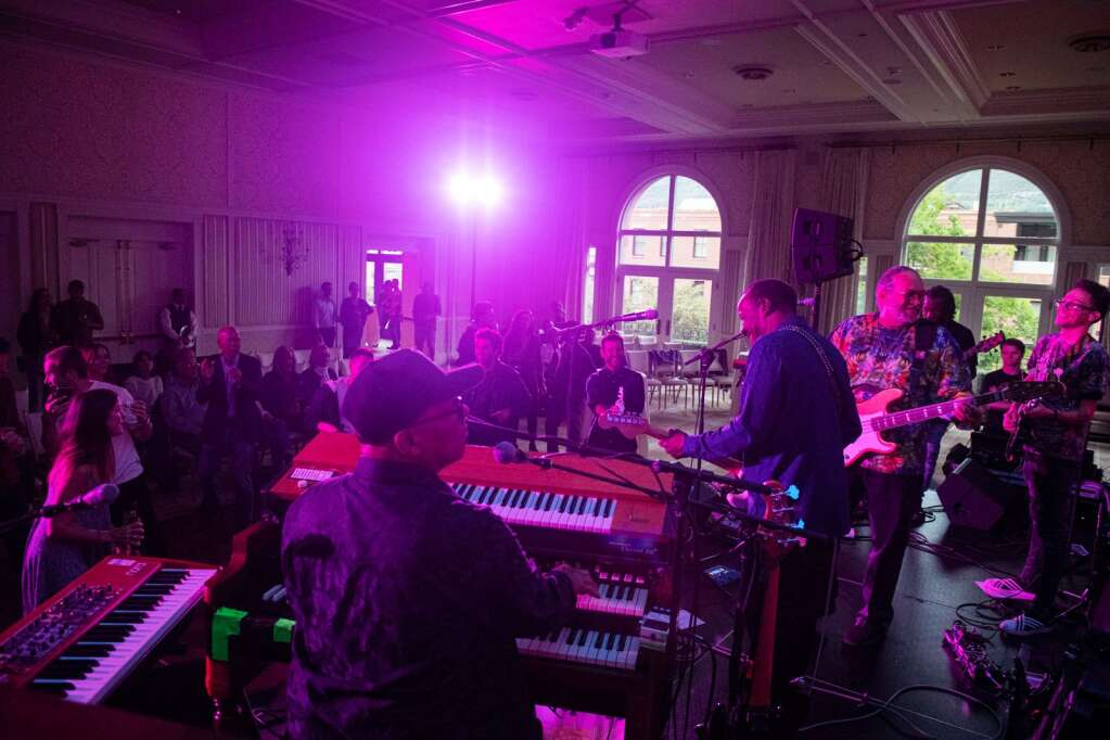 The New Orleans Roadshow Revue plays to a crowd in the Hotel Jerome ballroom during the JAS June Experience in downtown Aspen on Friday, June 25, 2021. (Kelsey Brunner/The Aspen Times)