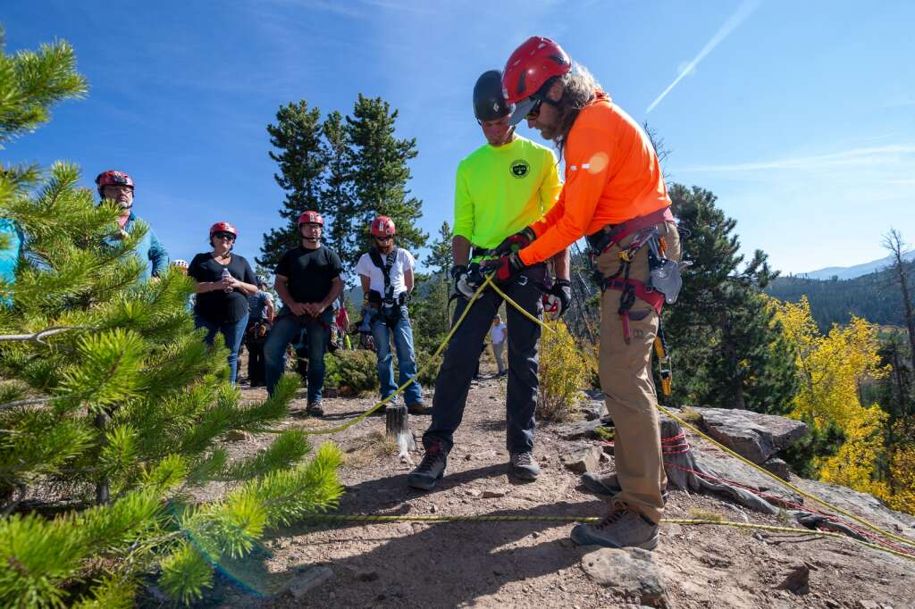Tom Wood, right, teaches at a search and rescue training course Friday, Sept. 24, near Windy Point Campground.  |  Liz Copan / For the Daily News Summit