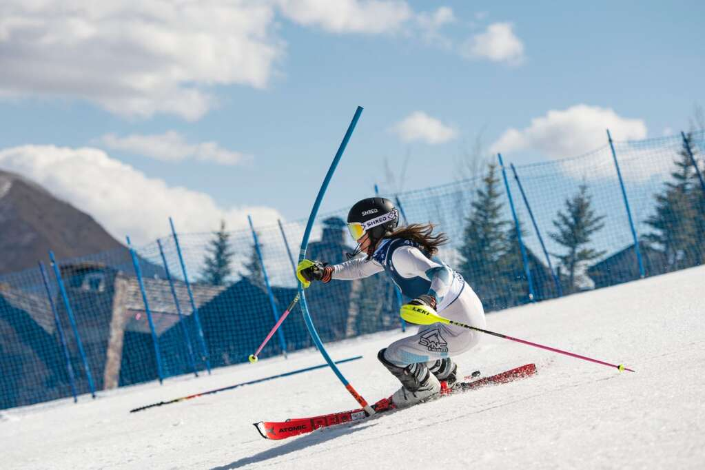 American alpine skier Ava Sunshine Jemison competes in the Women's Alpine Combined FIS event at Aspen Highlands on Wednesday, April 14, 2021. (Kelsey Brunner/The Aspen Times)
