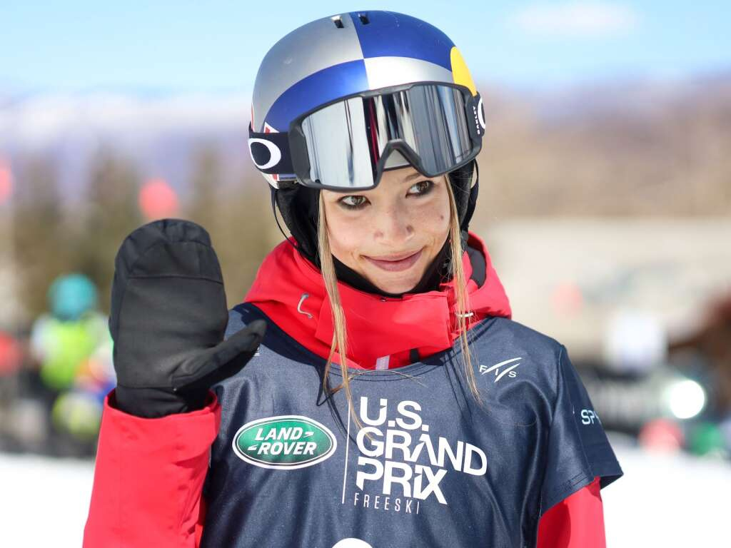 China's Eileen Gu waves to the camera after competing in the women's halfpipe skiing qualifiers of the Land Rover U.S. Grand Prix and World Cup on Friday, March 19, 2021, at Buttermilk Ski Area in Aspen, Colorado. Photo by Austin Colbert/The Aspen Times.