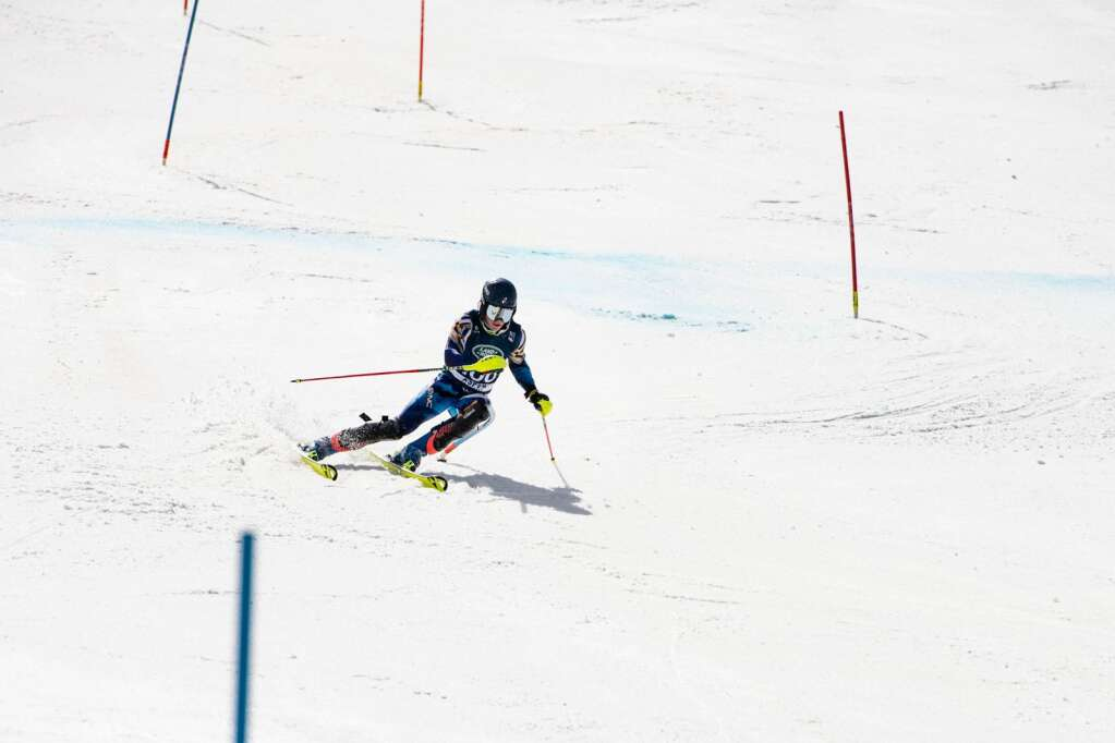 American alpine skier Charles Welch makes turns during the second run of the U.S. Alpine Championships at Aspen Highlands on Wednesday, April 7, 2021. (Kelsey Brunner/The Aspen Times)
