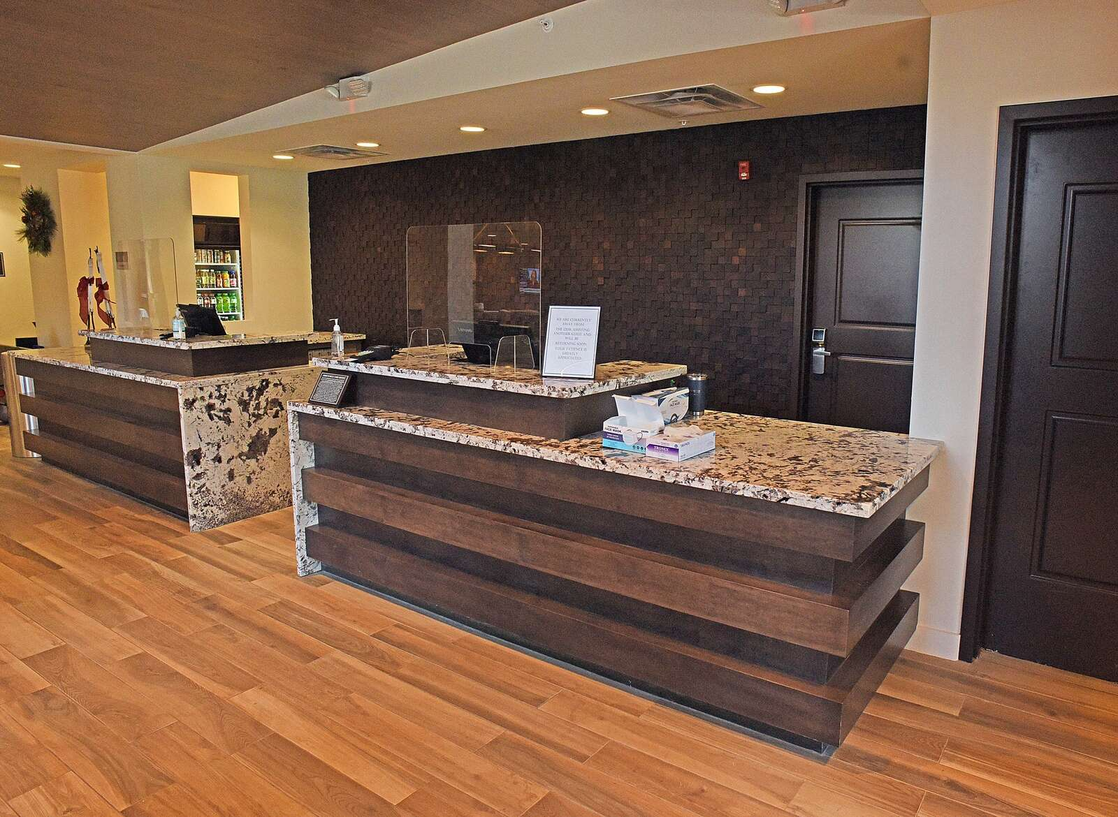 The front desk of the new Residence Inn by Marriott is welcoming and elegant. (Photo by John F. Russell)