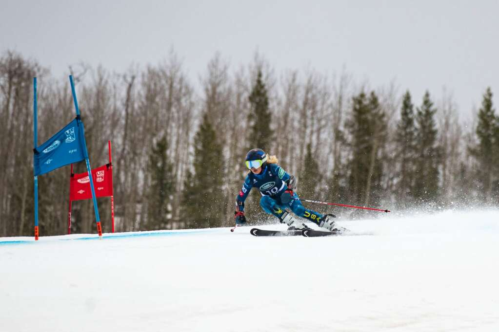 American alpine skier Ainsley Proffit makes turns during the first run of the Women's Giant Slalom National Championship at Aspen Highlands on Thursday, April 15, 2021. Proffit finished twelfth overall. (Kelsey Brunner/The Aspen Times)