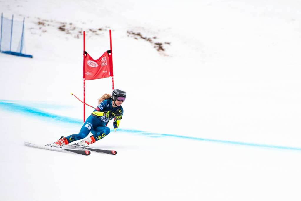 American alpine skier Tricia Mangan competes in the Women's Super G National Championships at Aspen Highlands on Tuesday, April 13, 2021. (Kelsey Brunner/The Aspen Times)