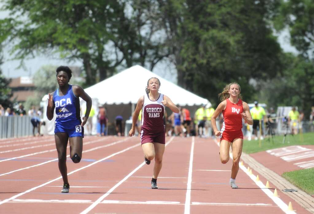 Soroco's Lexi Vandenberg competes in the 100-meter dash at the CHSAA Track and Field State Championships at JeffCo Stadium on Thursday. (Photo by Shelby Reardon)