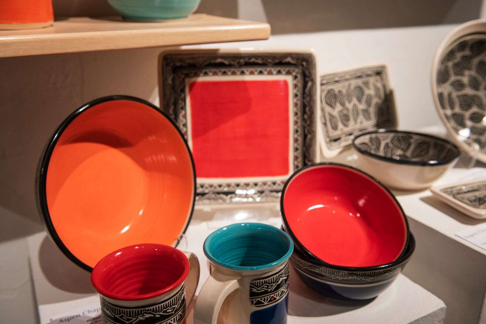 Work by Michael Bonds is displayed in the Aspen Chapel Gallery for the Small Wonders holiday show and sale on Tuesday, Nov. 17, 2020. (Kelsey Brunner/The Aspen Times)