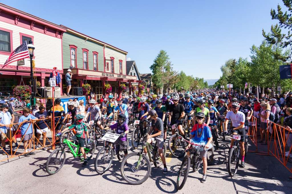 The start line at the heart of downtown Breckenridge for the Firecracker 50 mountain bike race on July 4, 2021. | Photo by John Hanson
