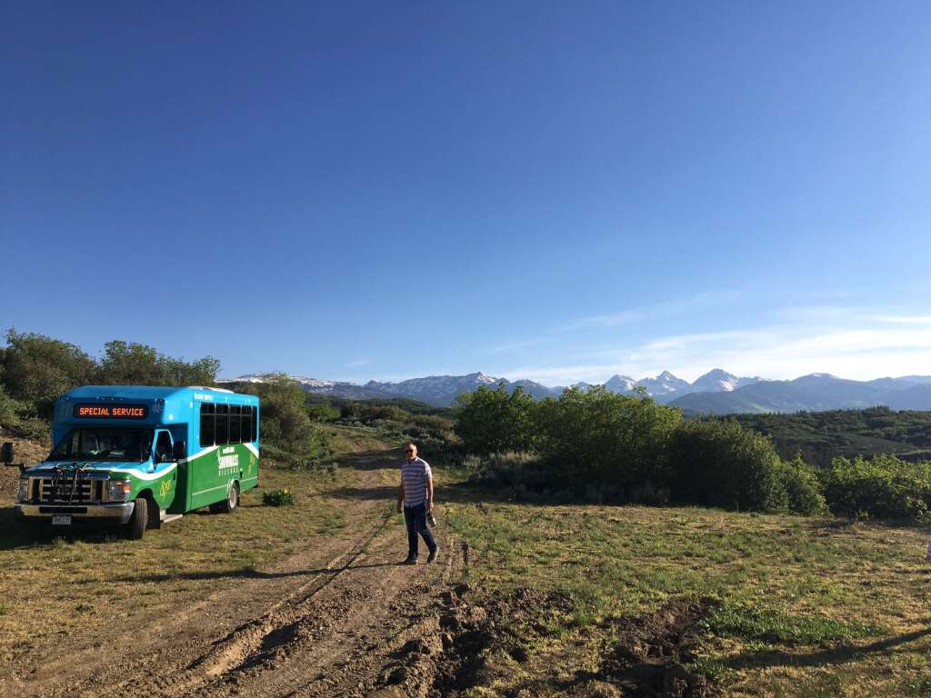 Snowmass Village Town Manager Clint Kinney walks toward a special service Village Shuttle bus during a site visit at the Cougar Canyon and Cozy Point Ridge subdivisions west of town on Monday, June 7, 2021.   Kaya Williams/The Snowmass Sun