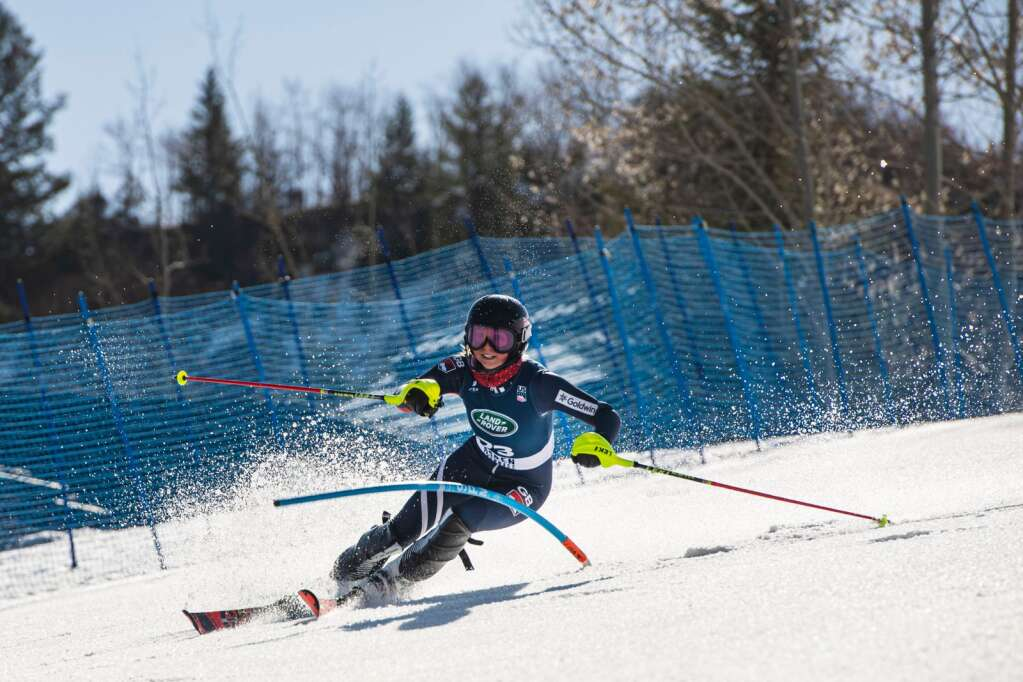 Great Britain's alpine skier Julia Wordley competes in the Women's Alpine Combined FIS event at Aspen Highlands on Wednesday, April 14, 2021. (Kelsey Brunner/The Aspen Times)
