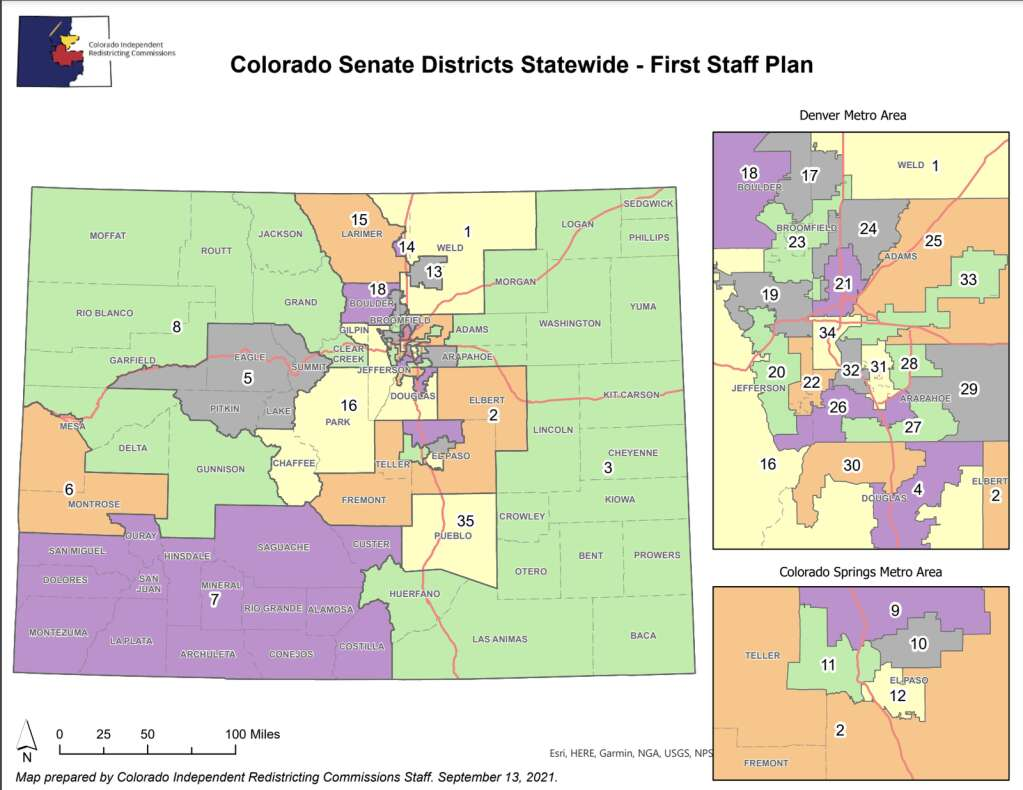 The first staff plan for the Senate district map was released Sept. 13. | Colorado Independent Congressional Redistricting Commission/Courtesy map