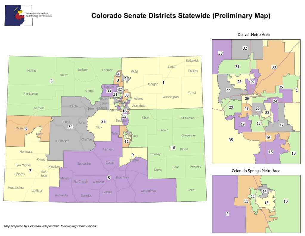 The preliminary Colorado Senate maps created by nonpartisan staff from the Independent Legislative Redistricting Commission.