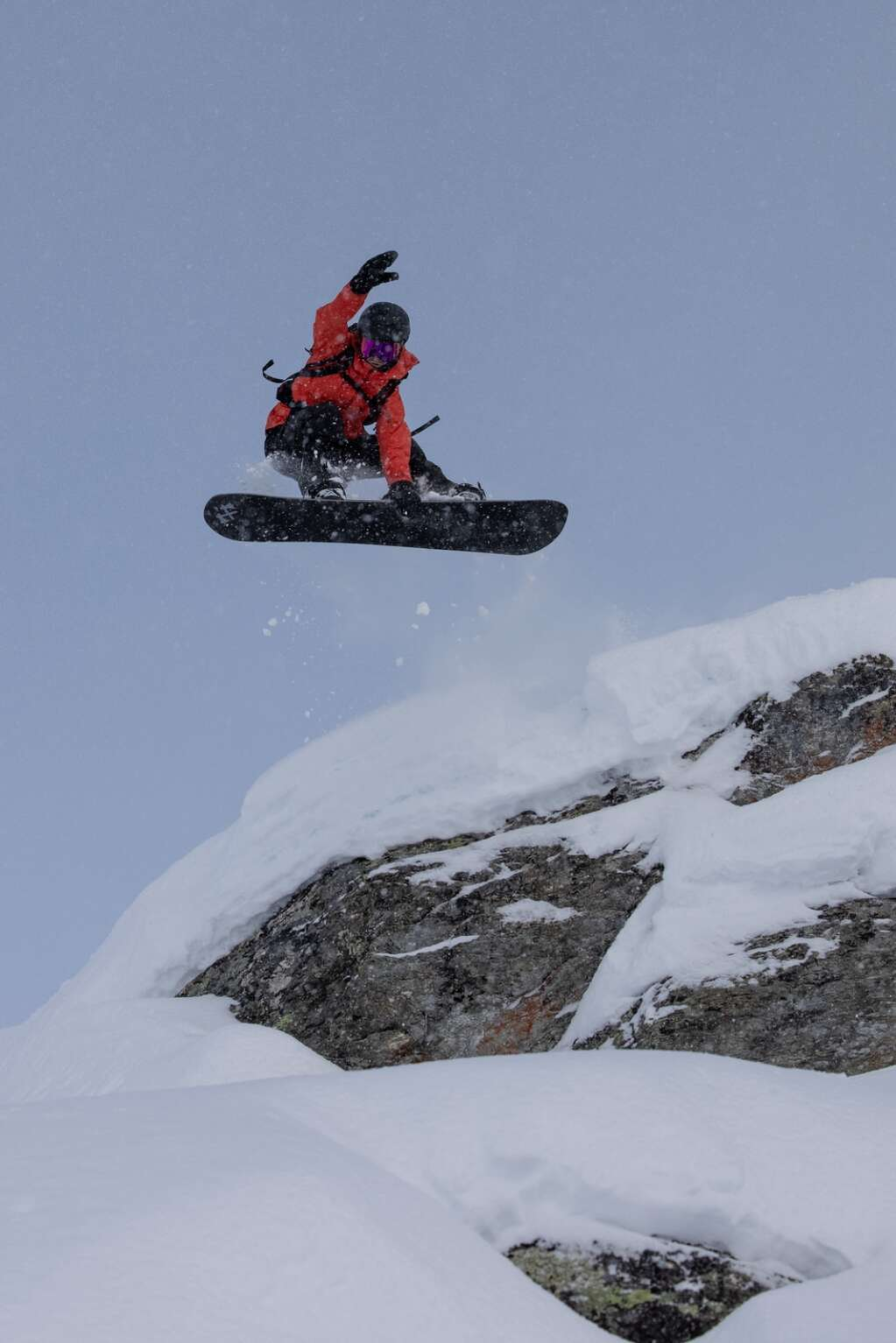 Big-mountain snowboarder Michael Mawn rides at the Engadin Snow 2021 event in Silvaplana, Switzerland   Photo by Marc Weiler Photography & Film