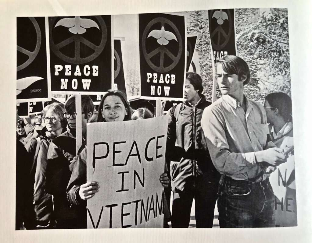 Aspen High School students carrying Tom Benton posters at Vietnam Moratorium Day, honoring the Jackson and Kent State students killed in protests that spring. (Aspen High School Annual 1970)