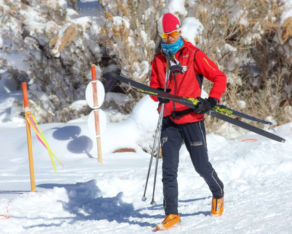 Coach Morgan Arritola wanders the course during an AVSC cross-country ski race on Saturday, Feb. 6, 2021, near the AVSC Clubhouse. Photo by Austin Colbert/The Aspen Times.
