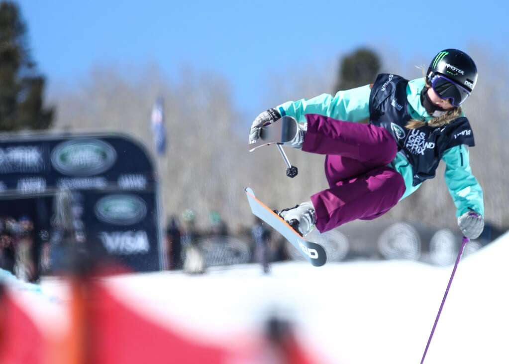 American Abigale Hansen competes in the women's freeski halfpipe qualifier of the Land Rover U.S. Grand Prix and World Cup on Friday, March 19, 2021, at Buttermilk Ski Area in Aspen. Photo by Austin Colbert/The Aspen Times.