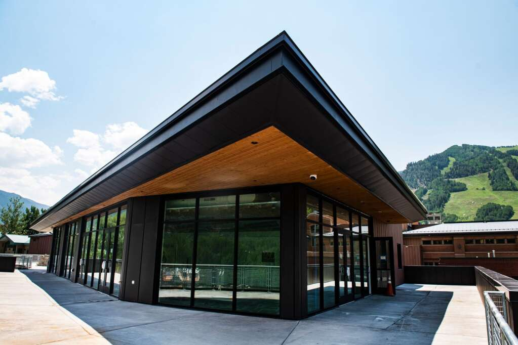 On the top floor of the new Aspen Town Hall, a balcony wraps around Aspen Mountain, Rio Grande Park and the surrounding area.  (Kelsey Brunner / The Aspen Times)