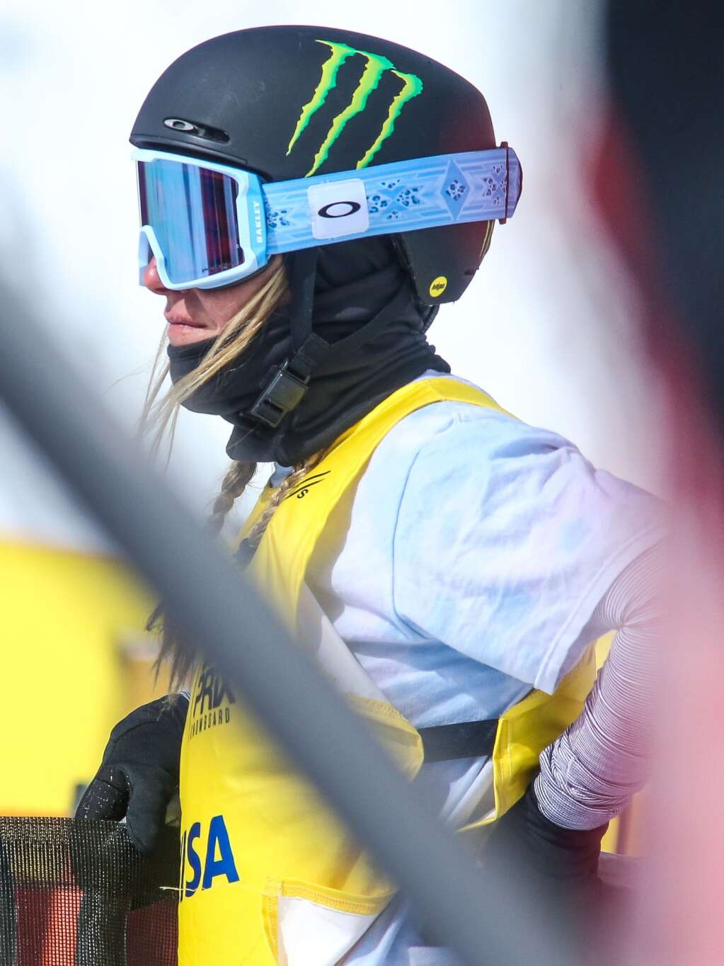 Tahoe's Jamie Anderson watches the women's snowboard slopestyle contest of the U.S. Grand Prix and World Cup on Saturday, March 20, 2021, at Buttermilk Ski Area in Aspen. Photo by Austin Colbert/The Aspen Times.
