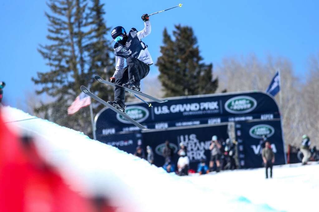Canada's Rachael Karker competes in the women's freeski halfpipe qualifier of the Land Rover U.S. Grand Prix and World Cup on Friday, March 19, 2021, at Buttermilk Ski Area in Aspen. Photo by Austin Colbert/The Aspen Times.