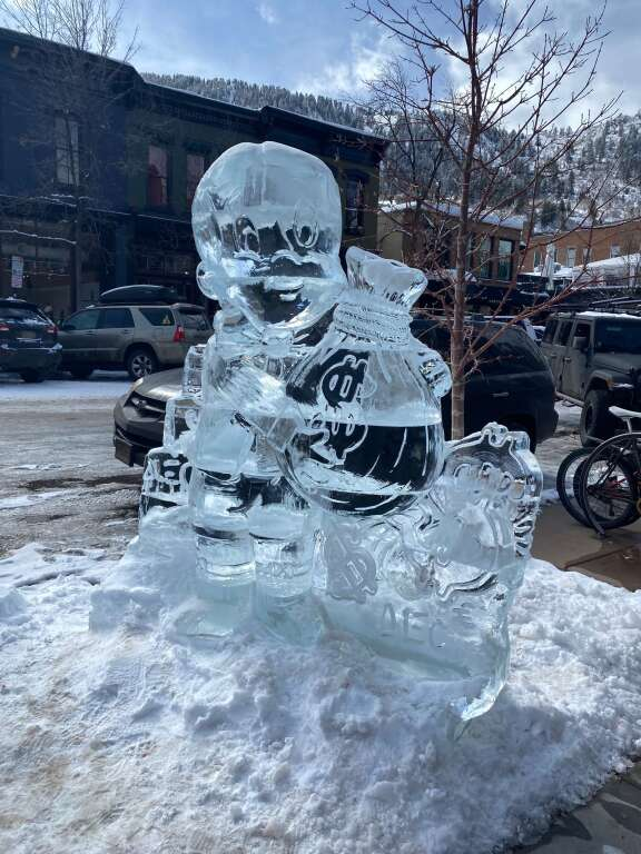 Alec Monopoly's ice sculpture at Eden Gallery on Friday, Feb. 19. Courtesy Eden Gallery
