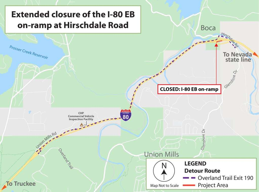 Detour map for the closure of the I-80 eastbound on-ramp at Hirschdale Road. | Provided by Caltrans