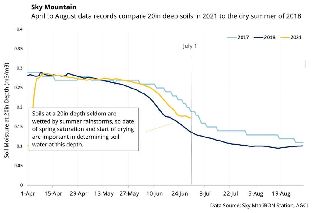 This chart shows soil moisture at the 20-inch depth at Sky Mountain Park. | Aspen Global Change Institute/courtesy image