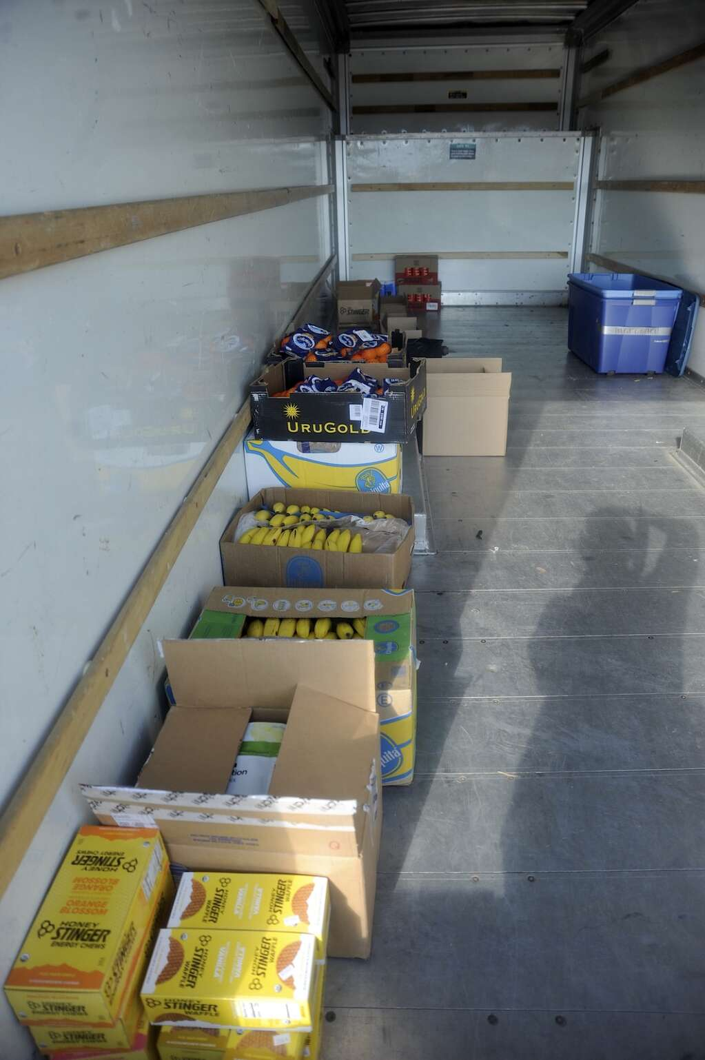 Before stocking the tables with snacks, this Uhaul's floor was full of boxes of food for the Stagecoach aid station as part of the Tour de Steamboat Springs on Saturday. (Photo by Shelby Reardon)