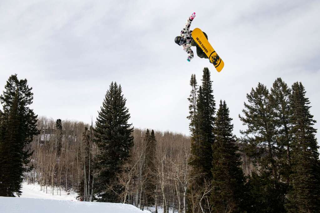 Chris Corning hits the second jump on the slopestyle course during a practice session at the 2021 X Games Aspen at Buttermilk on Thursday, Jan. 28, 2021. (Kelsey Brunner/The Aspen Times)