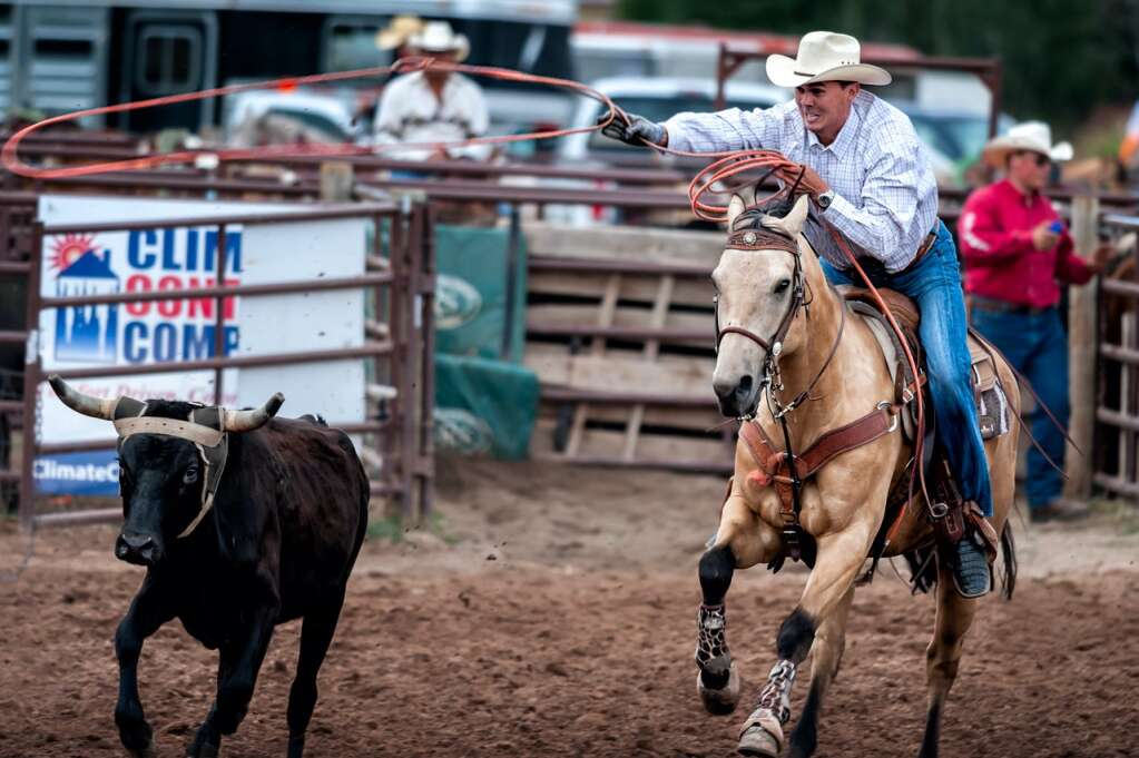 Basalt-based team roper Tommy Ding competes in the Snowmass Rodeo.   Photo by George Hendrix/Provided by Tommy Ding