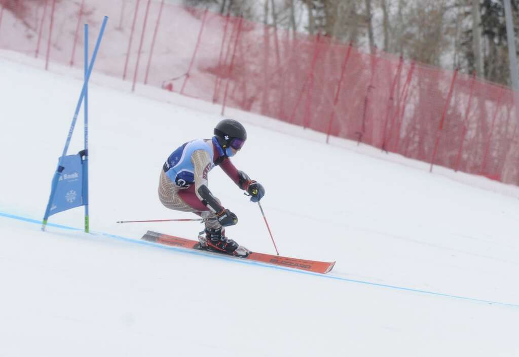 Steamboat Springs native and Denver University skier Trey Seymour competes in Giant Slalom race of the Spring Series at Steamboat Resort on Tuesday.