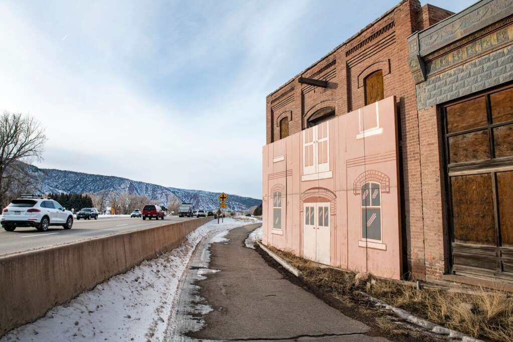 One problem being contemplated for the Emma store and warehouse is the proximity of the buildings to Highway 82. Road maintenance is damaging the buildings.  (Kelsey Brunner/The Aspen Times)